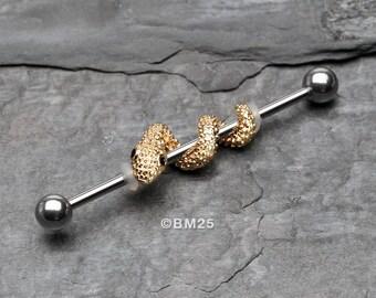 Golden Serpent Snake Industrial Barbell