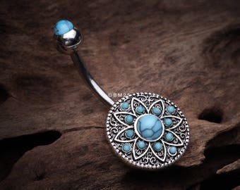 Vintage Turquoise Floral Shield Belly Button Ring