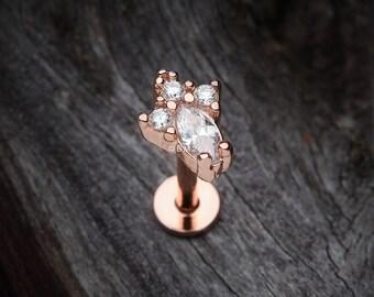 Rose Gold Victorian Sparkle Top Steel Labret (tragus, helix, cartilage, lip ring)