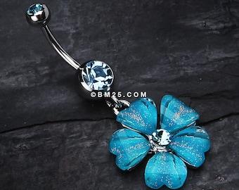 Shimmering Flower Heart Petal Dangle Belly Ring - Aqua