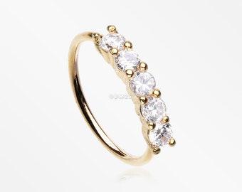 Golden Multi-Gem Princess Prong Sparkles Bendable Hoop Ring