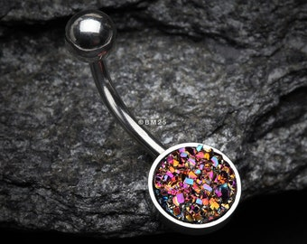 14G Cute Iridescent Druzy Stone Cat Black Belly Button Ring Belly BarNavel JewelryBelly Button Ring Belly Button Piercing Navel Ring