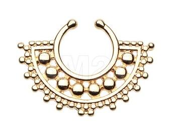 Covet Jewelry Golden Regent Drape Filigree Fake Septum Clip-On Ring