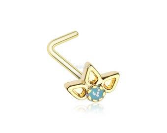 Sold Individually 20 GA Luna Ornate Filigree Sparkle Icon L-Shaped Nose Ring