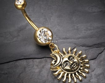 Sun Moon Belly Ring Etsy