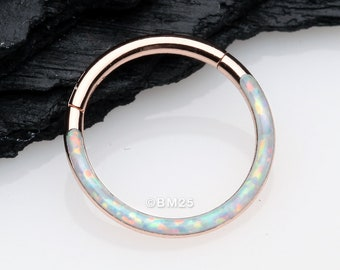 Rose Gold Brilliant Fire Opal Lined Front Facing Seamless Clicker Hoop Ring - White