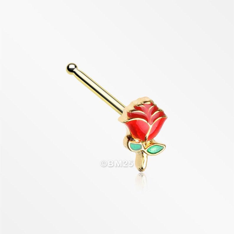 Golden Vintage Enchanted Stem of Rose Nose Stud Ring