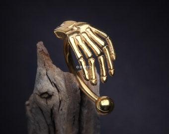Golden Skeleton Hand of Death Curved Barbell (daith, rook, cartilage, eyebrow)