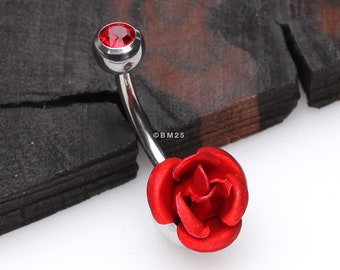 Bright Metal Rose Blossom Belly Button Ring - Red