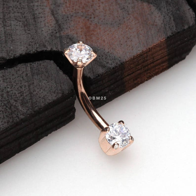 Rose Gold Aria Sparkle Teardrop Curved Barbell Eyebrow Ring