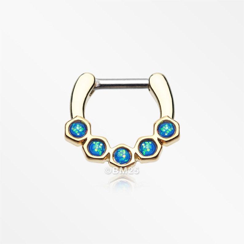Golden Opal Hexa Gemina Septum Clicker
