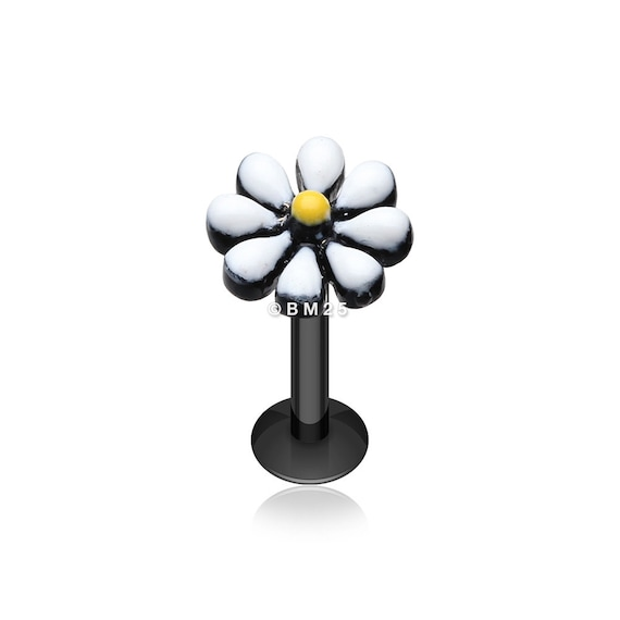 Black Dainty Daisy Enamel Eyebrow Ring 16G - Sold as a Pair 1.2mm