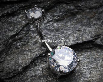 Brilliant Gem Sparkle Belly Ring - Clear