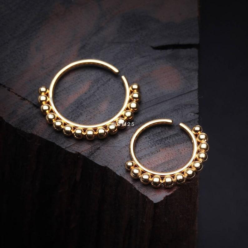 Golden Bali Beads Spherule Bendable Nose Hoop