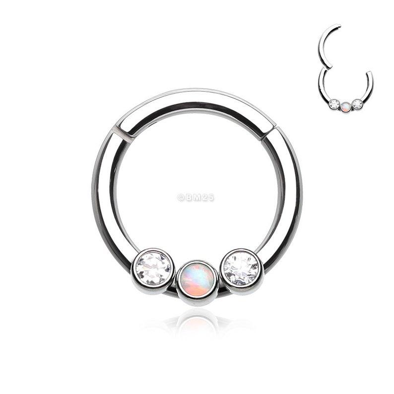 Fire Opal Sparkle Trio Seamless Clicker Ring