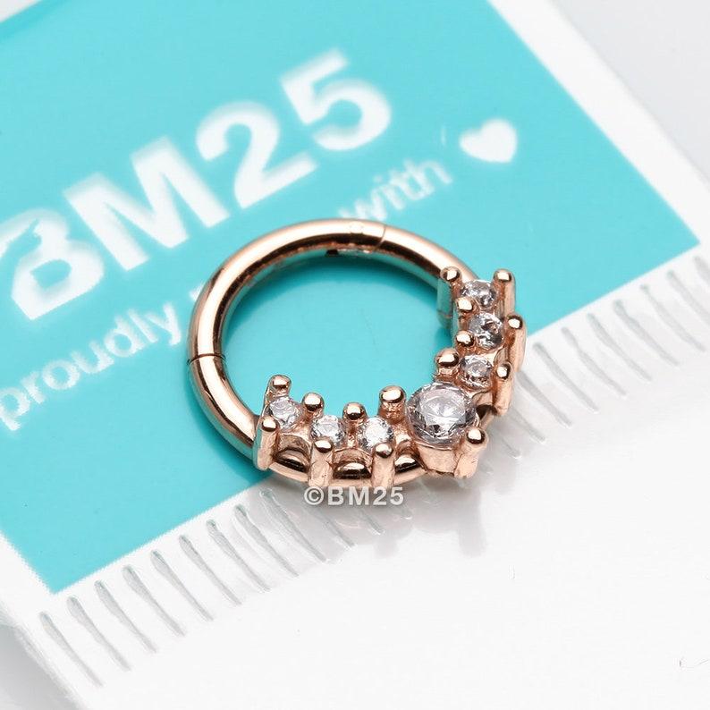 Clear Gem Rose Gold Sparkle Princess Journey Seamless Clicker Hoop Ring