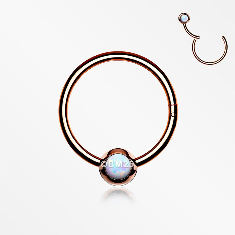 White Opal Rose Gold Fire Opal Sparkle CBR Style Seamless Clicker Hoop Ring
