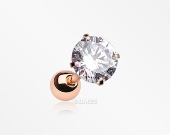 Rose Gold Round Gem Crystal Cartilage Tragus Earring