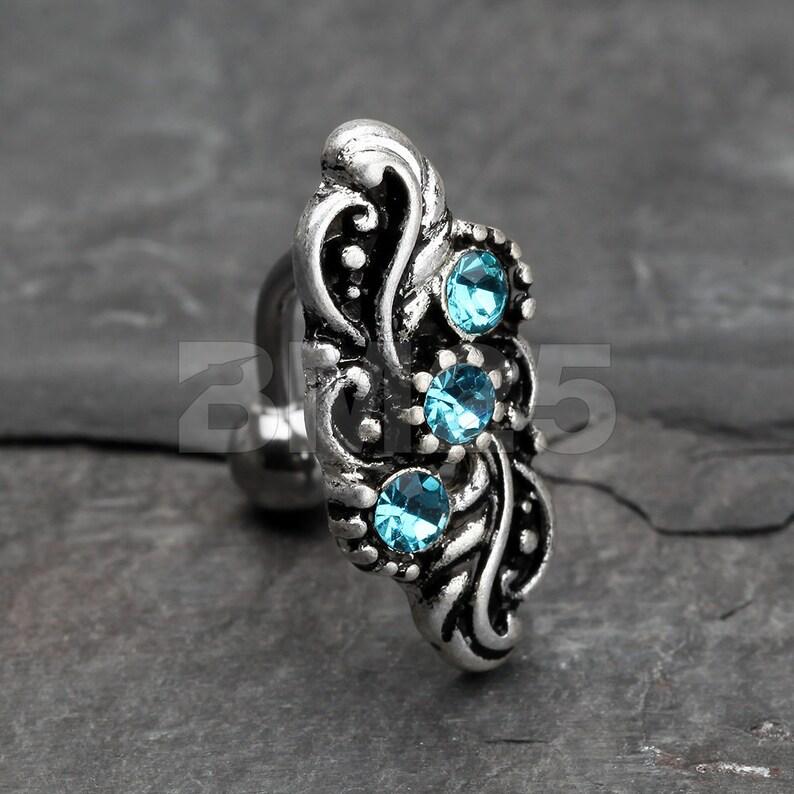 Aqua Vintage Leaflet Sparkle Hinged Reverse Belly Button Ring