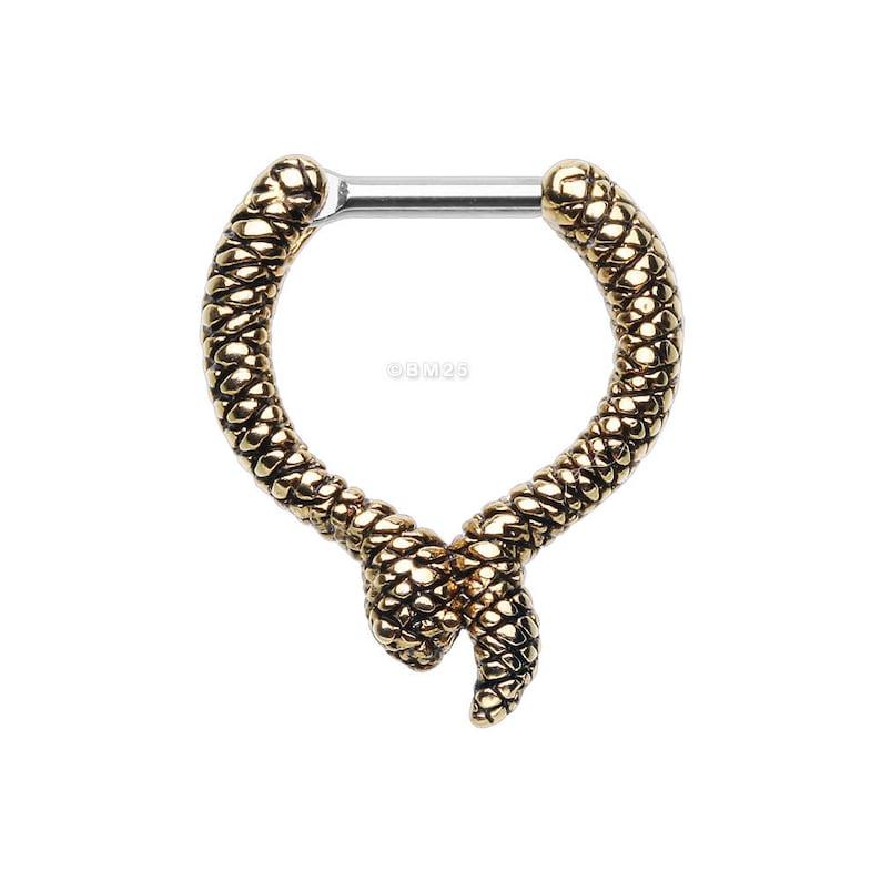 Golden Slithering Snake Septum Clicker