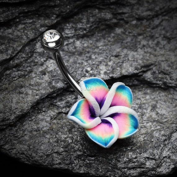 Hawaiian Plumeria Belly Button Ring Etsy