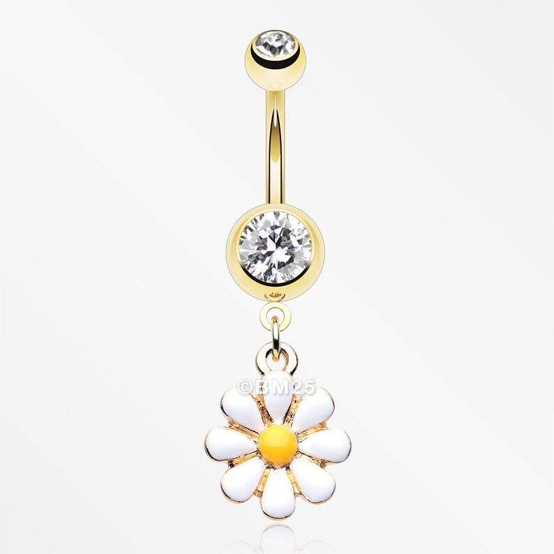 Golden Spring Daisy Sparkle Belly Button Ring