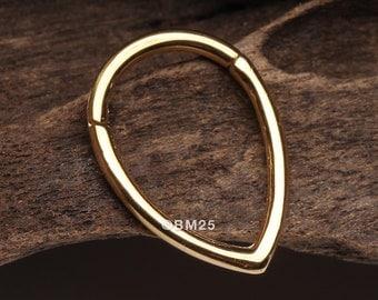 Golden Classic Teardrop Seamless Clicker Hoop Ring