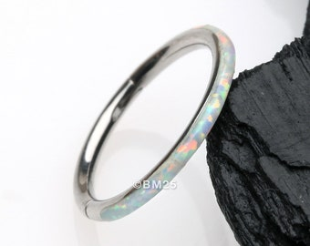 Brilliant Fire Opal Lined Seamless Clicker Hoop Ring - White