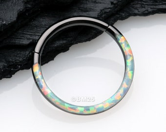 Blackline Brilliant Fire Opal Lined Front Facing Seamless Clicker Hoop Ring - White