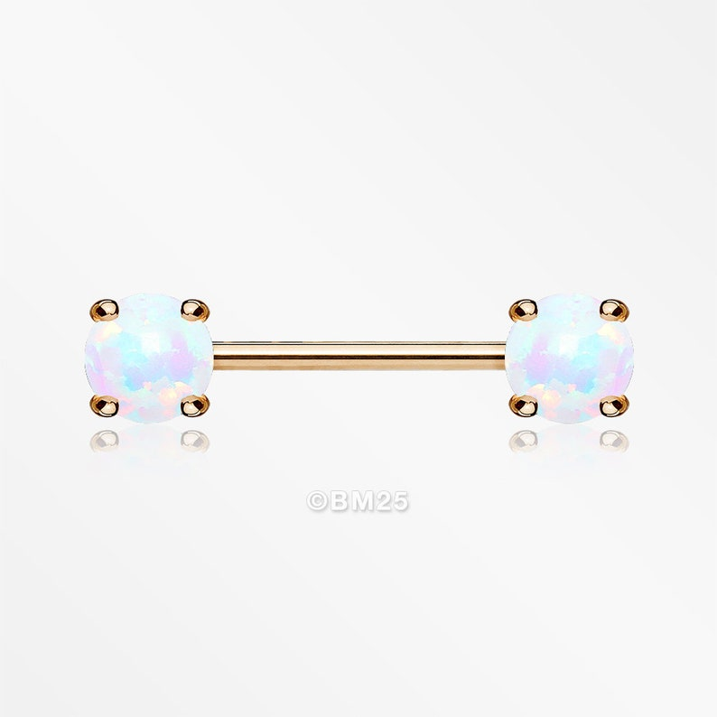 A Pair of Rose Gold Fire Opal Prong Set Sparkle Nipple Barbell White Opal