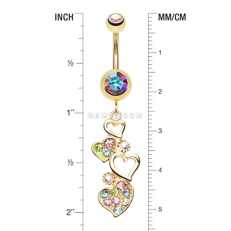Golden Sparkling Heart Cluster Belly Button Ring