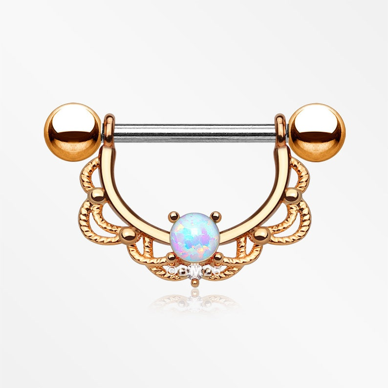 White Opal A Pair of Rose Gold Turan Fire Opal Sparkle Dangle Nipple Shield
