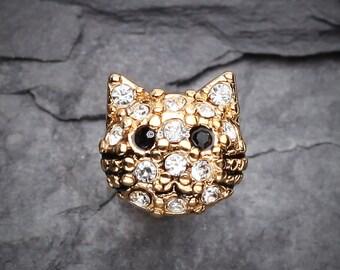 Golden Kitty Multi-Gem Cartilage Earring