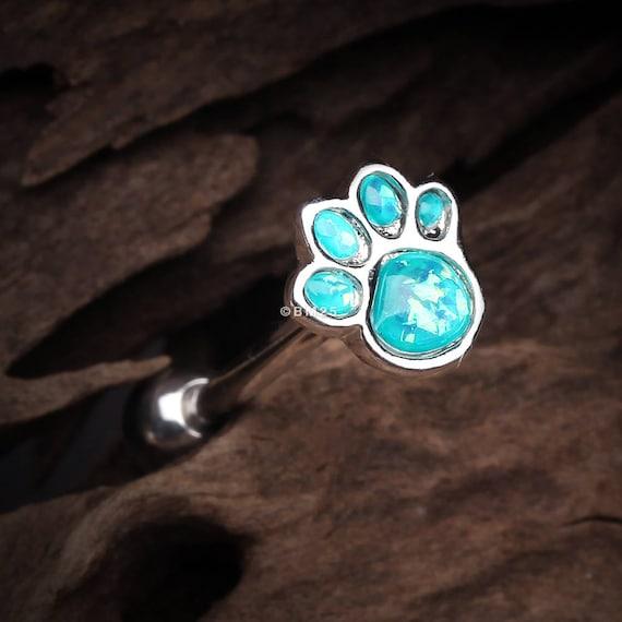 Adorable Paw Print Opal Sparkle Cartilage Tragus Earring