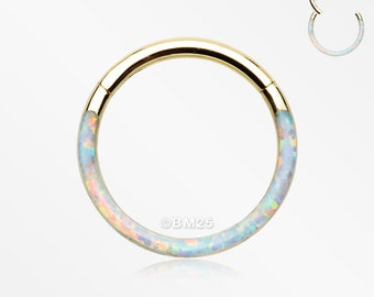 Golden Brilliant Fire Opal Lined Front Facing Seamless Clicker Hoop Ring - White
