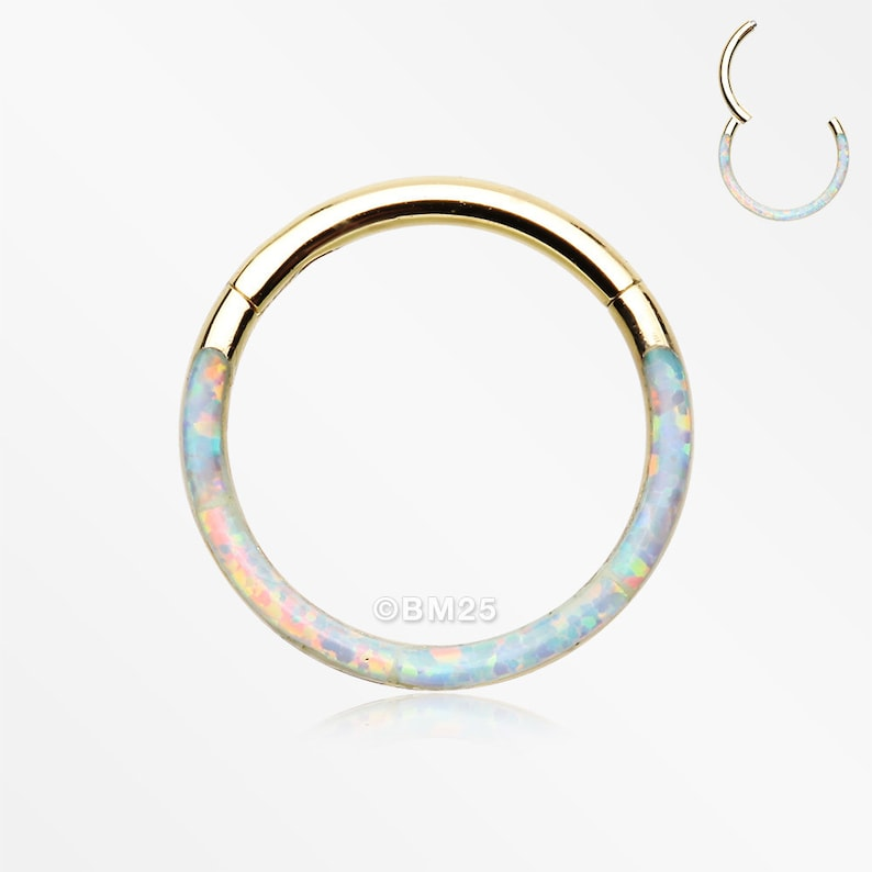 Golden Brilliant Fire Opal Lined Front Facing Seamless Clicker image 0
