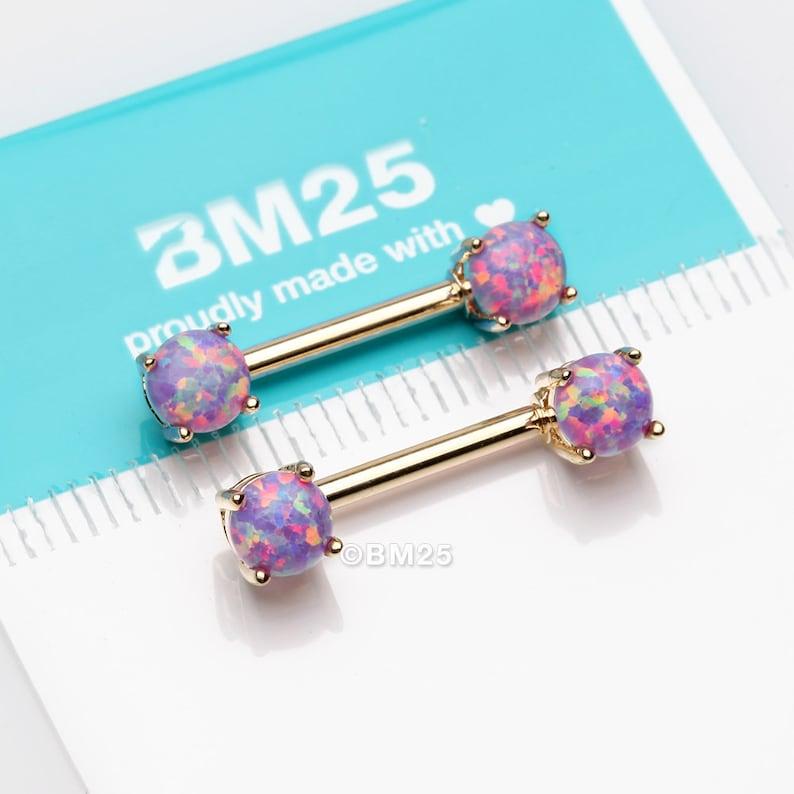 Purple Opal A Pair of Golden Fire Opal Prong Set Sparkle Nipple Barbell