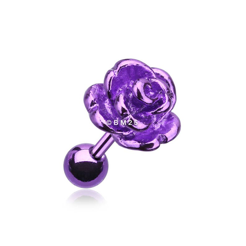 Purple Colorline Steel Rose Cartilage Earring