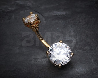 Colorline Gem Prong Sparkle Belly Button Ring - Gold/Clear Gem
