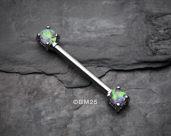 A Pair of Opal Sparkle Prong Steel Nipple Barbell Ring - Purple