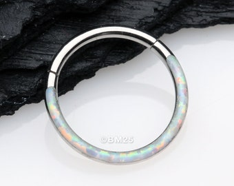 Brilliant Fire Opal Lined Front Facing Seamless Clicker Hoop Ring - White