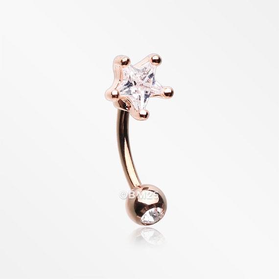 Rose Gold Heart Gem Sparkle Prong Curved Barbell