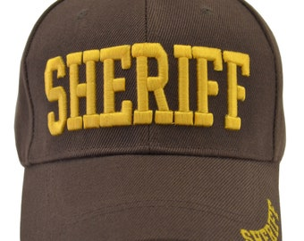 be0a1eeb940a3 Brown Sheriff Novelty Hat Yellow Embroidered Adjustable Strap Sheriff on  Brim Sheriff on back