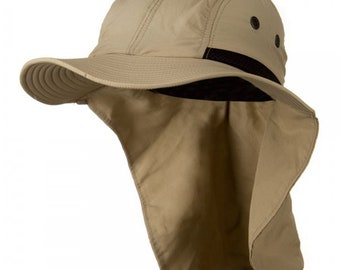 4bc60af3 KHAKI Mens Womens sun hat with neck flap fishing, hiking, gardening, KHAKI:  color hat 4 panel large bill flap Great Neck cover protection
