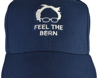 45cb18c468dd0 Bernie Sanders FEEL THE BERN navy blue embroidered hat