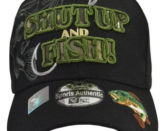 c6cd00cea46d5 SHUT UP and FISH Black Hat Green Embroidery - Free Shipping