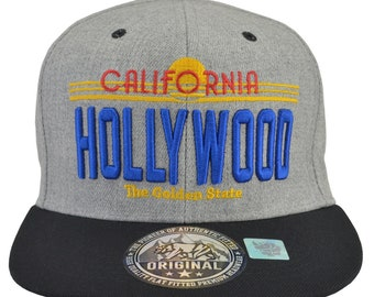 b00095ad8e911 Hollywood California Grey Hat Black Brim Blue Embroidered Snap Back fully  adjustable Free Shipping. incrediblegiftscom. 5 out of ...