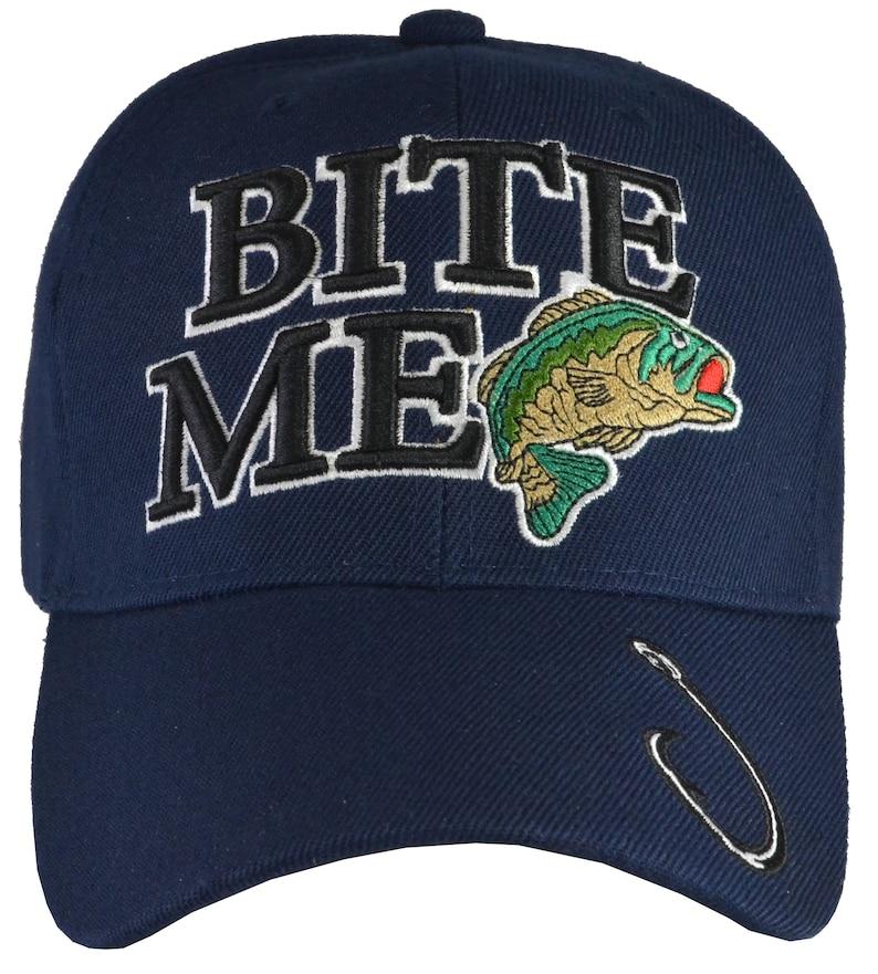 Bite Me embroidered Black BASS  fish hat baseball style  adjustable FreeShipping