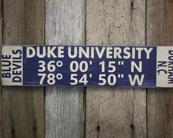 4de6b48040fd17 Duke University Sign, Duke University Latitude Longitude Sign, Blue Devils  Sign, Duke University Decor, Under 50 Dollars