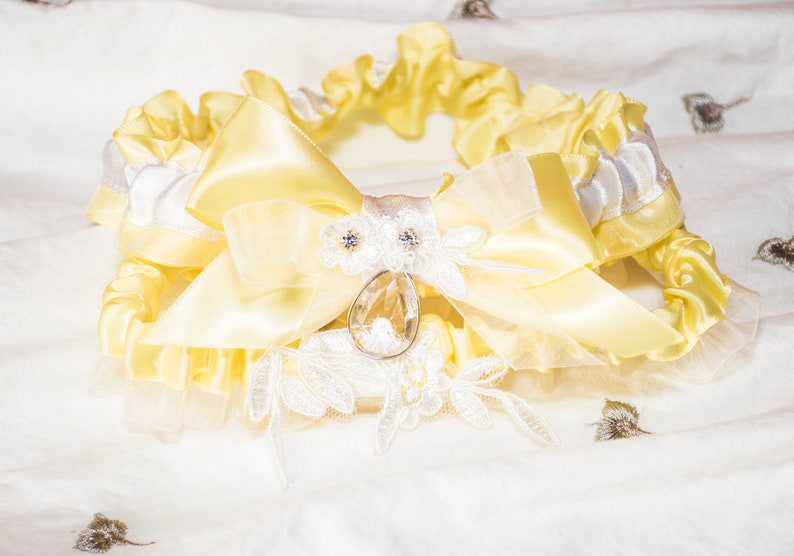 Legs Ring Wedding Accessories Wedding Leg Garter 2 pcs pair Pastel Yellow Bridal Garters with Crystal